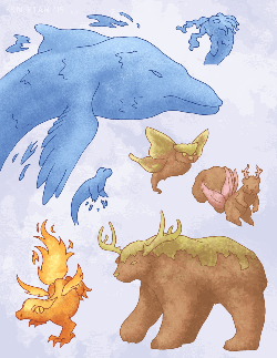 A mix of water, fire, and nature spirits