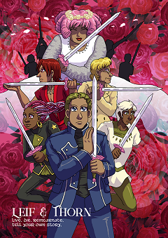 Image of Rhódon and various reincarnations holding their heartsword